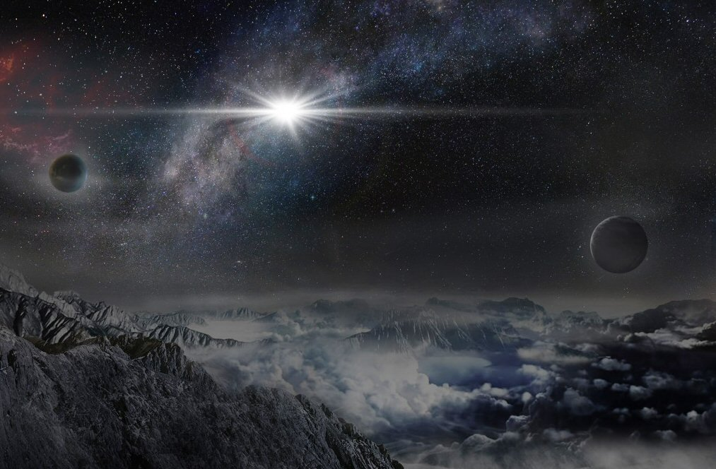 An artist's impression of the record-breakingly powerful, superluminous supernova ASASSN-15lh as it would appear from a planet located 10,000 light years away in the host galaxy of the supernova. (Credit: Beijing Planetarium / Jin Ma)