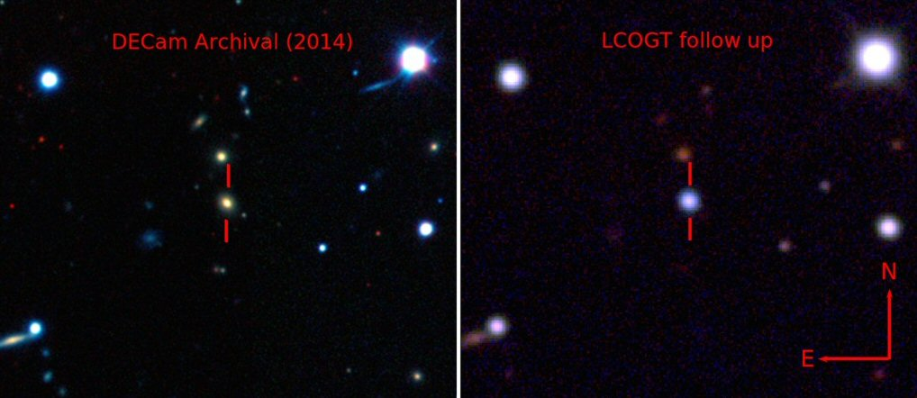 Images showing the host galaxy before (Left) the explosion of ASASSN-15lh, and afterwards (Right) when the supernova actually outshines the whole host galaxy. The images were taken by the Dark Energy Camera (DECam), and the Las Cumbres Observatory Global Telescope Network (LCOGT), respectively. (Credits: The Dark Energy Survey, B. Shappee and the ASAS-SN team)
